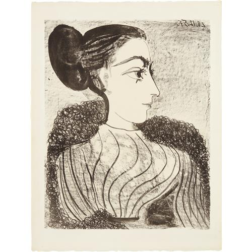 PABLO PICASSO - Femme au chignon (Woman with Chignon), 1957