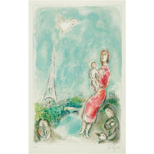MARC CHAGALL - Maternité rouge (Red Maternity), 1980