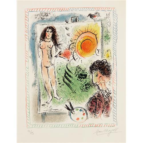MARC CHAGALL - Le Soleil de l'atelier (Sun in the Workshop), 1971