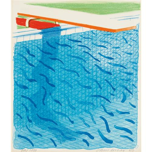 DAVID HOCKNEY - Pool Made with Paper and Blue Ink for Book, 1980