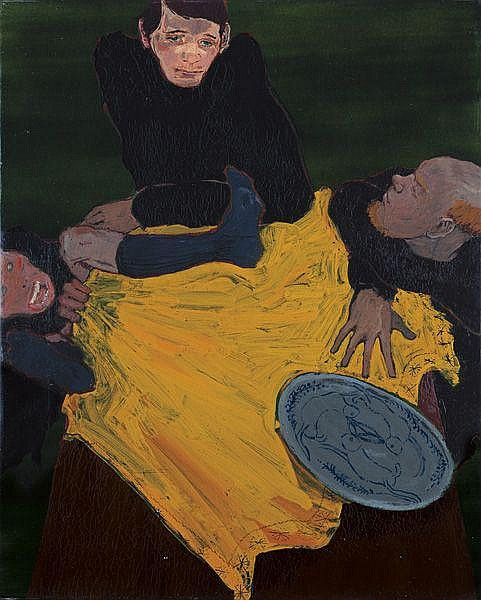 KAI ALTHOFF Untitled, 2001 Boat varnish, poster
