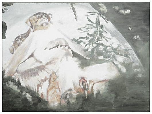 LUC TUYMANS Exhibit #1, 2002 Oil on canvas. 36 x