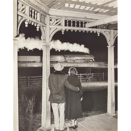 O. WINSTON LINK - Mr. and Mrs. Pope watch the last steam powered passenger train, Max Meadows, Virginia, 1957
