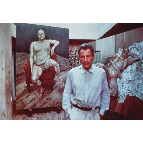 BRUCE BERNARD - Lucian Freud with two portraits of Leigh Bowery, 1990
