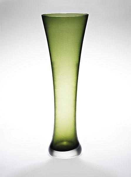 Unique monumental inciso glass vase, ca. 1959