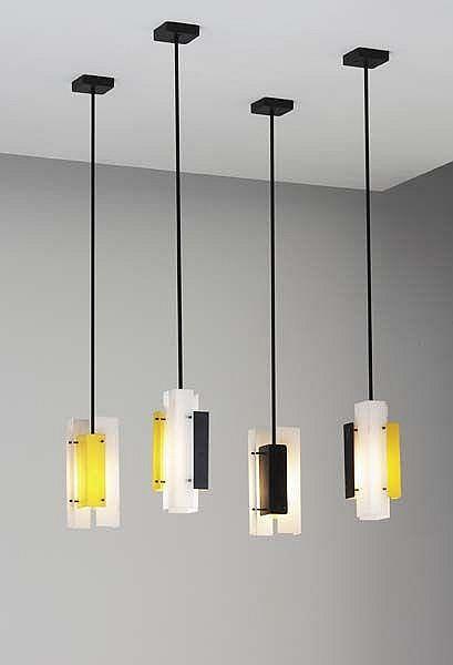 Set of four ceiling lights, ca. 1947