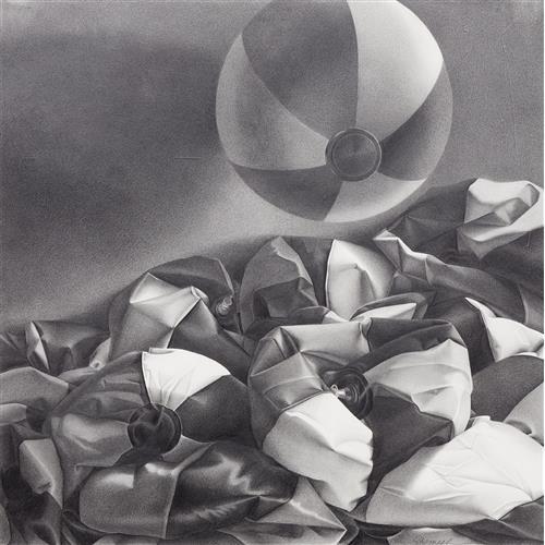 LORRAINE SHEMESH - Untitled (deflated beach balls, one floating)
