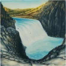 DAN ATTOE - Waterfall with Boat