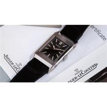 JAEGER LECOULTRE - A highly attractive limited edition stainless steel reverso wristwatch with dark brown dial and original handmade cordovan leather strap, 2011