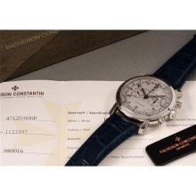 VACHERON CONSTANTIN - A very attractive, rare and large platinum chronograph wristwatch with sand-blasted platinum finished dial and outer telemeter scale, accompanied by certificate of origin, presentation box and booklets, 2006