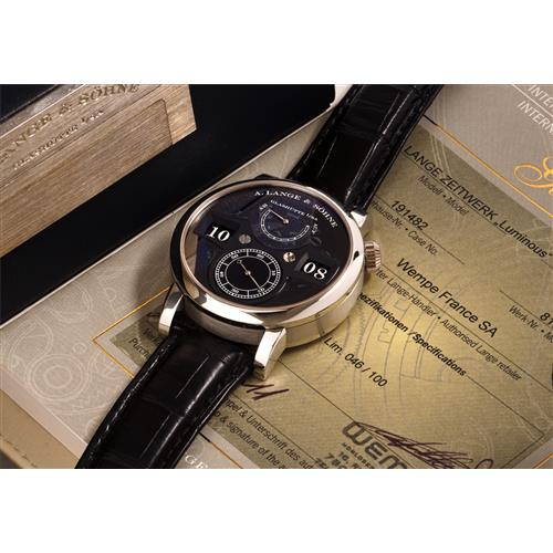A. LANGE & SÖHNE - A fine and rare limited edition platinum wristwatch with digital display, power reserve, hack feature and partially transparent dial, box and original certificate, 2010