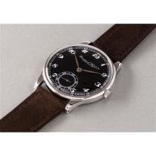 IWC - A rare and oversized stainless steel wristwatch with black dial and Breguet numerals, 1943