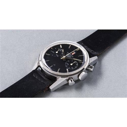 HEUER - An attractive and rare stainless steel chronograph wristwatch with black dial and red date, circa 1968