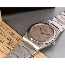 VACHERON CONSTANTIN - A rare and attractive stainless steel wristwatch with date, bracelet, original box and certificate, 1981