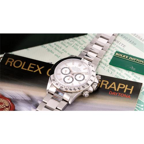 ROLEX - An excellently preserved and rare stainless steel chronograph wristwatch with white dial and bracelet, 1995