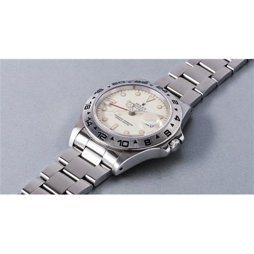 ROLEX - A very fine and rare stainless steel wristwatch with 24-hour indication and cream