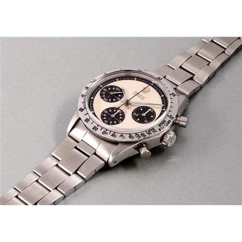 ROLEX - An extremely rare and highly attractive stainless steel chronograph wristwatch with bracelet, accompanied by presentation box and additional bracelet, 1970