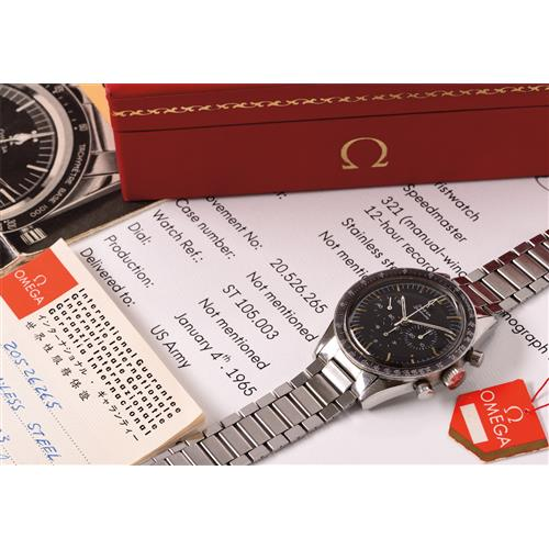 OMEGA - A very attractive and historically important stainless steel chronograph wristwatch with tachymeter scale, bracelet, box, papers and hang tag, 1965