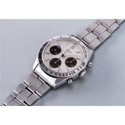 """ROLEX - A very rare and early stainless steel chronograph wristwatch with """"Underline Double Swiss"""" dial with tropical subsidiary dials, 1963"""