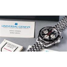 UNIVERSAL - A fine and attractive stainless steel chronograph wristwatch with black dial, rotating bezel, rubber chronograph pushers, red chronograph hand, bracelet and box, 1968