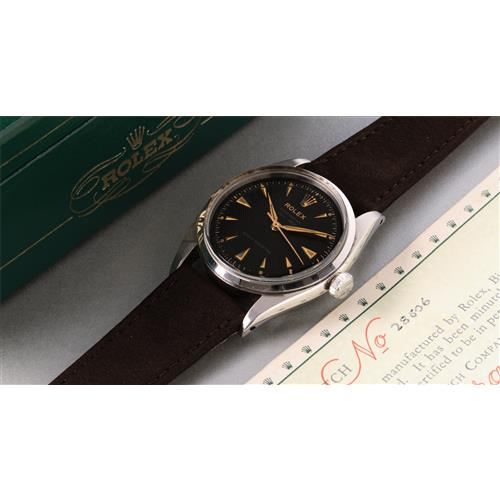 ROLEX - A very attractive stainless steel wristwatch with black
