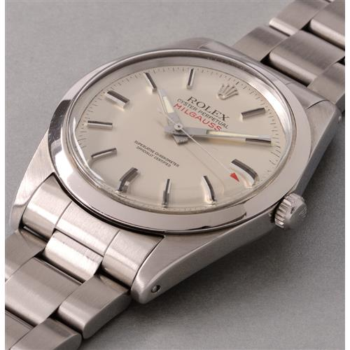 ROLEX - An attractive and rare stainless steel anti-magnetic wristwatch with center seconds and silver dial, 1979