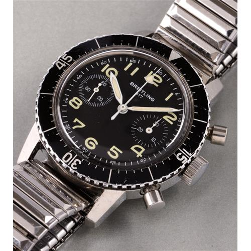 BREITLING - A fine and very rare stainless steel chronograph wristwatch, made for the Italian army, 1974