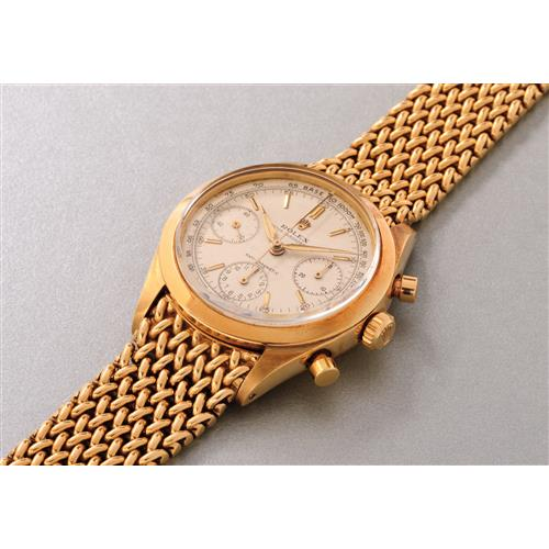 ROLEX - An extremely rare and fine yellow gold chronograph wristwatch with bracelet and