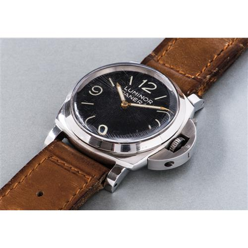 PANERAI - An extremely rare and oversized stainless steel cushion shaped diver's wristwatch with black dial and subsidiary seconds, Circa 1955