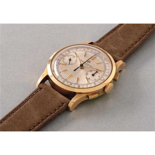 VACHERON CONSTANTIN - A rare, attractive and very well preserved yellow gold chronograph wristwatch with telemeter scale, 1967