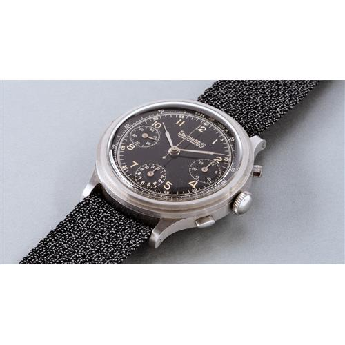 EBERHARD - An oversized and attractive stainless steel chronograph wristwatch with black dial and tachymeter scale, circa 1940