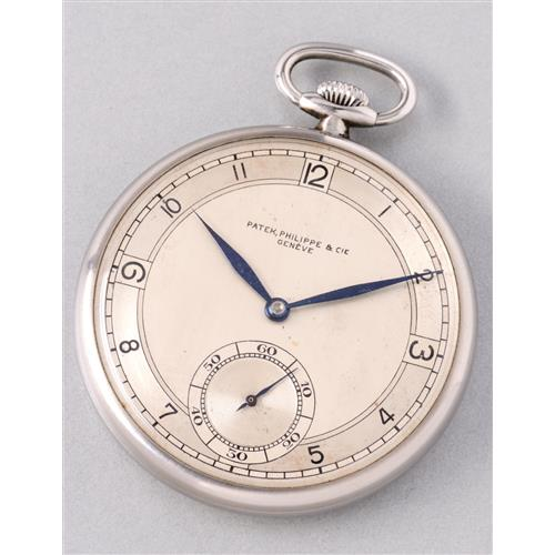 PATEK PHILIPPE - A very fine and rare stainless steel open face pocket watch with three-tone dial, 1937