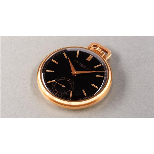 PATEK PHILIPPE - A very rare and attractive pink gold open face pocket watch with black dial, 1940