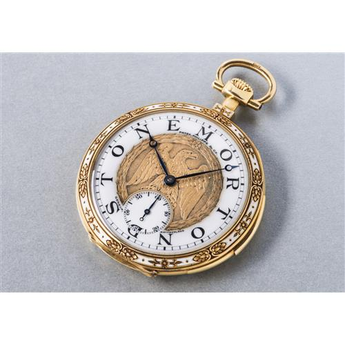 PATEK PHILIPPE - A unique and very attractive yellow gold minute repeating open face pocket watch with enamel and chased work on the bezel and sculpted gold dial depicting an eagle, 1917