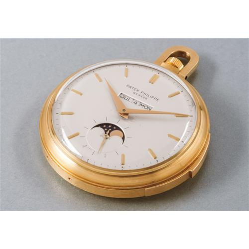 PATEK PHILIPPE - An extremely rare and fine yellow gold open face minute repeating