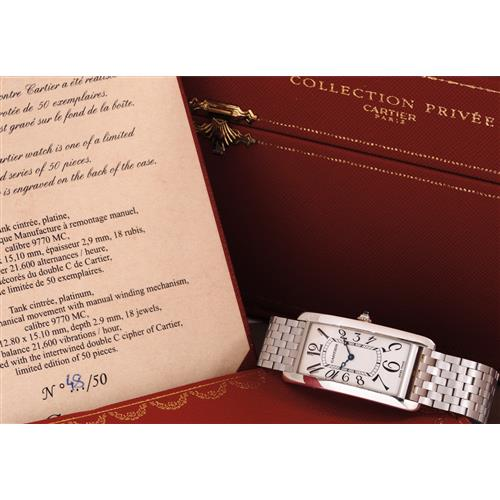 CARTIER - A limited edition rectangular-shaped platinum wristwatch with custom-made bracelet, box and certificate, 2000
