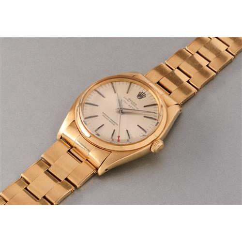 ROLEX - A rare and attractive yellow gold wristwatch with