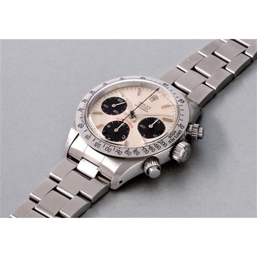 ROLEX - A highly attractive and rare stainless steel chronograph wristwatch with silvered dial and bracelet, 1979