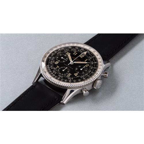 BREITLING - A very rare, highly attractive and early stainless steel pilot's chronograph wristwatch with black dial and slide rule bezel, circa 1959