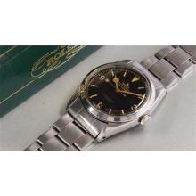 ROLEX - A very rare and fine stainless steel wristwatch with original presentation box, 1955