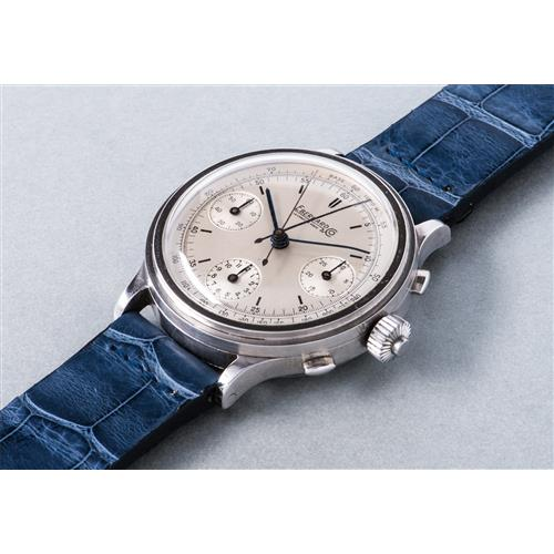 EBERHARD - A very rare, attractive and oversized stainless steel split seconds chronograph wristwatch with silvered dial and tachymeter scale, 1940