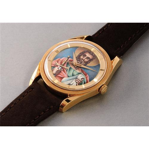 UNIVERSAL - A fine and very rare yellow gold automatic wristwatch with polychrome enamel dial, 1957