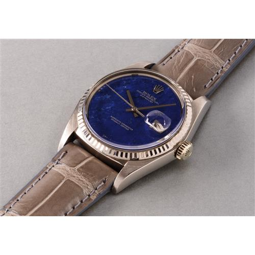 ROLEX - An attractive and very well preserved white gold wristwatch with lapis lazuli hard stone dial, 1977