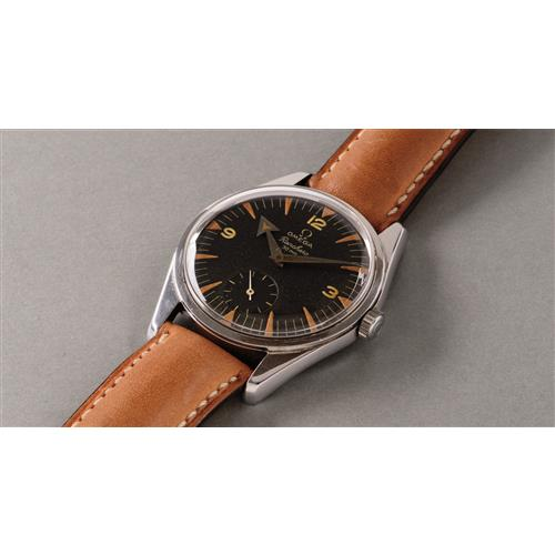 OMEGA - A fine and attractive stainless steel wristwatch with black dial and subsidiary seconds, 1958