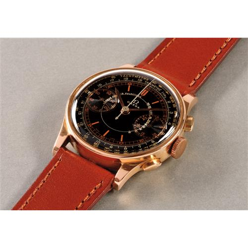 OMEGA - A highly attractive and rare pink gold chronograph wristwatch with black lacquer dial and triple scale, 1940