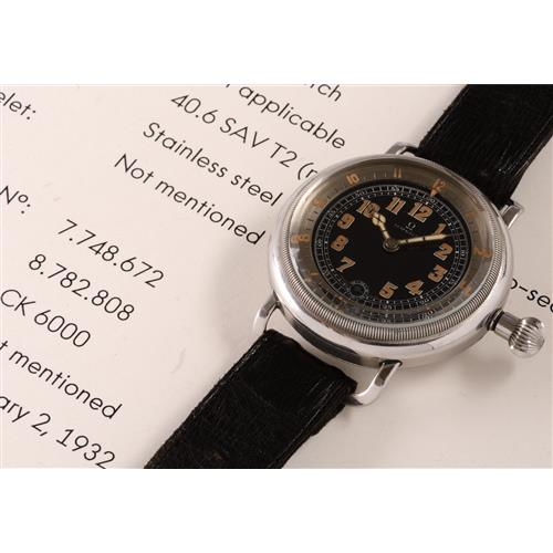 OMEGA - An extremely rare and important aviatorÕs wristwatch with black dial and elapsed time indicator, 1932