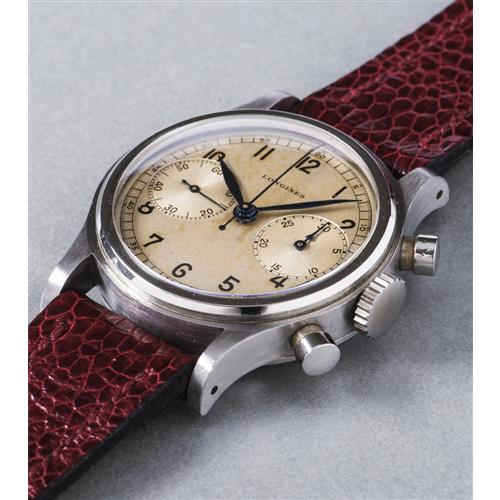 LONGINES - An extremely rare and very attractive stainless steel chronograph wristwatch with silvered dial and oversized registers, 1943