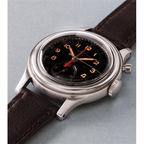 LONGINES - A very rare and unusual stainless steel single-button fly-back chronograph wristwatch with black glossy dial and red central elapsed minute counter, 1949
