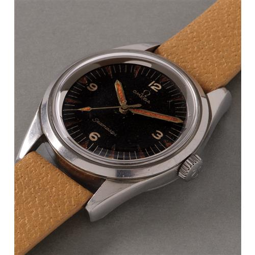 OMEGA - An extremely rare and very attractive stainless steel wristwatch with black dial made for the Pakistani Air Force, 1964
