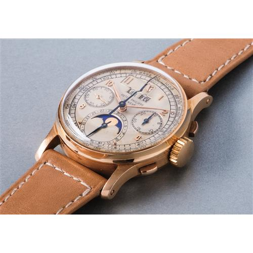 PATEK PHILIPPE - An extremely rare, highly attractive and historically important pink gold perpetual calendar chronograph wristwatch with moon phases and tachymeter scale, presented to H.H. Windsor Jr., 1948